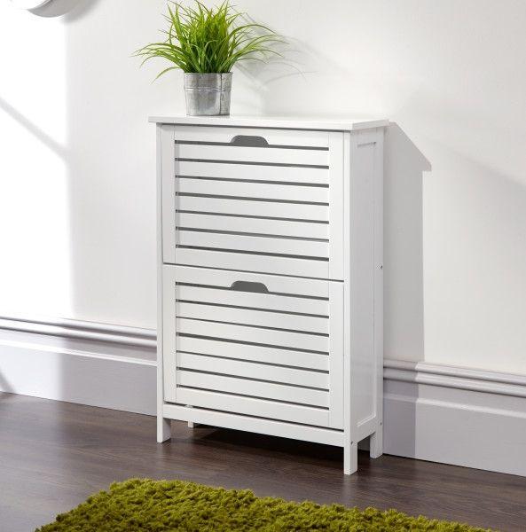 Bergen 2-Tier Shoe Storage Cabinet - White or Grey