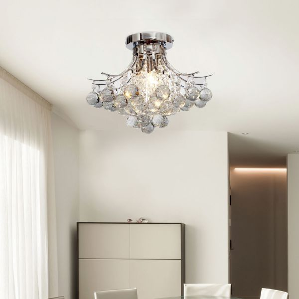 Homcom 3-Light Crystal Droplet Pendant Ceiling Chandelier