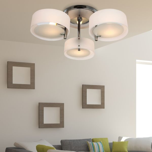 Homcom 3-Light Acrylic Chrome Ceiling Lamp