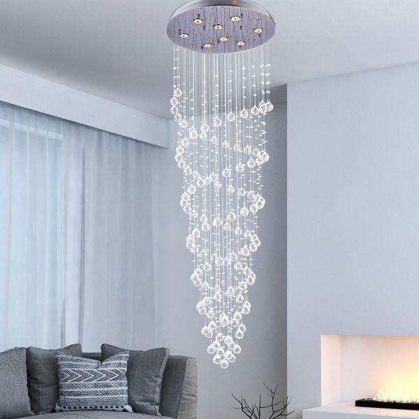 Homcom 8-Light Spiral Crystal Droplet Ceiling Chandelier