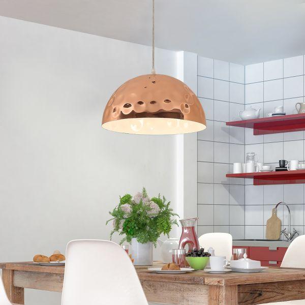 Homcom 40W Metal Hanging Hemisphere Lamp in Rose Gold