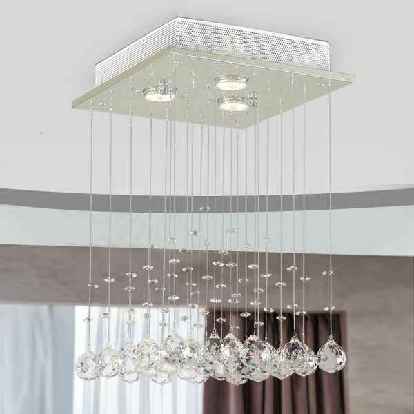Crystal Chandelier with Glass Rain Drops