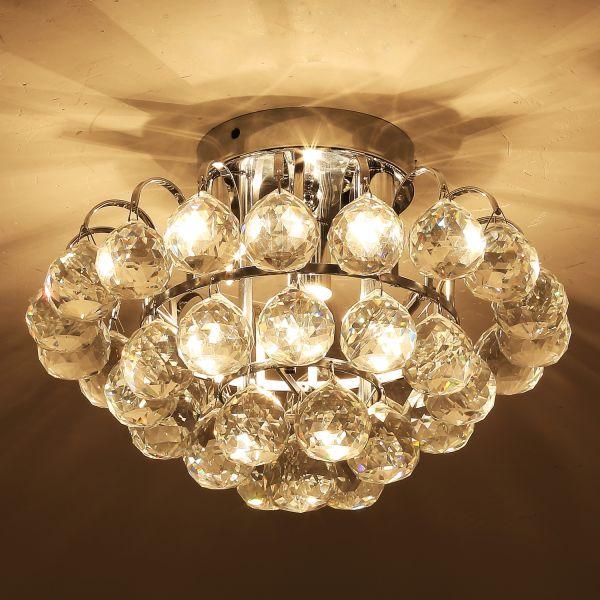 Homcom Crystal Ceiling Lamp Silver