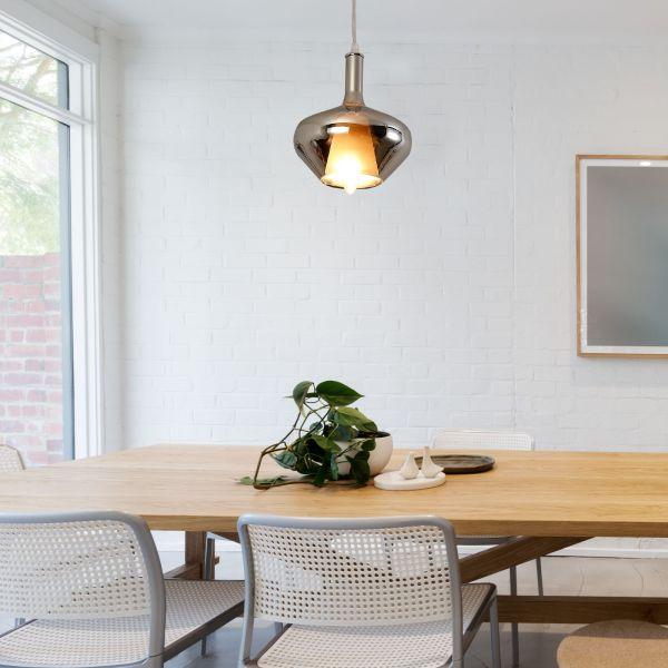 Glass Modern Pendant Lamp in Silver