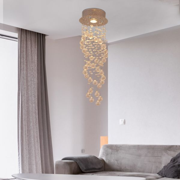 Elegant Metal and Crystal Ceiling Chandelier