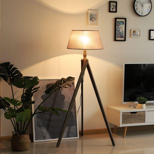 Free Standing Tripod Floor Lamp in Beige