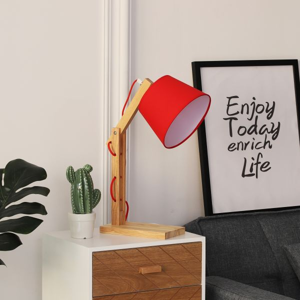 Adjustable Bedside Table Lamp in Red