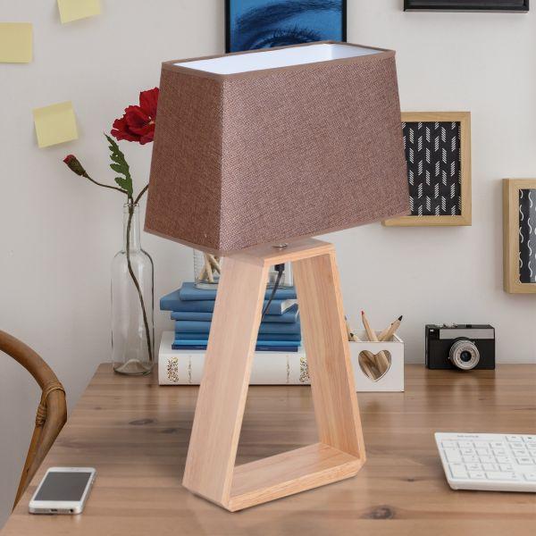 Homcom Oak Bedside Table Lamp - Coffee
