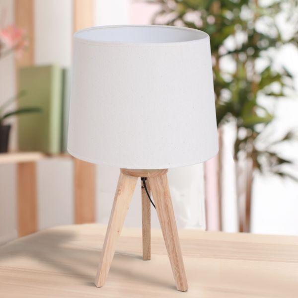 Homcom Oak Bedside Table Lamp - Cream