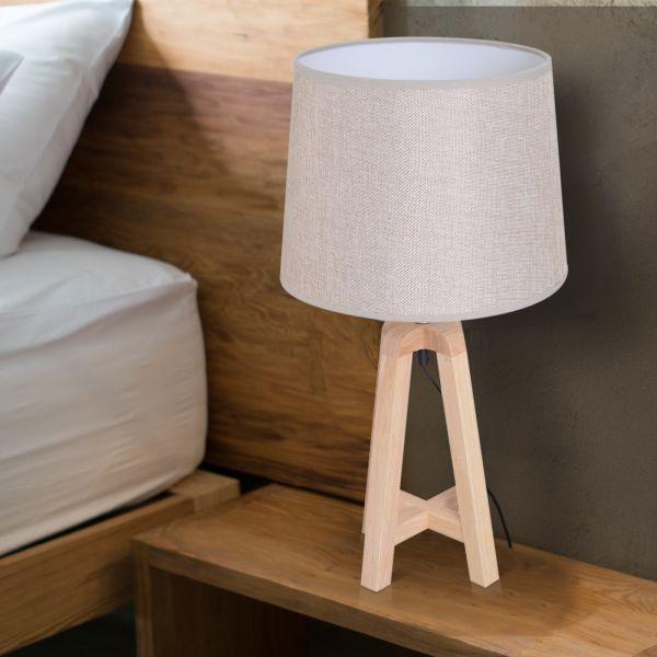 Homcom Oak Bedside Table Lamp - Beige