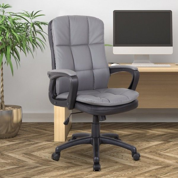 Vinsetto PU Leather Swivel Office Chair - Brown or Grey