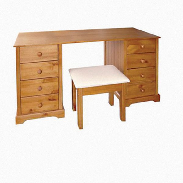 LPD Baltic 8 Drawer Dressing Table & Stool - Pine