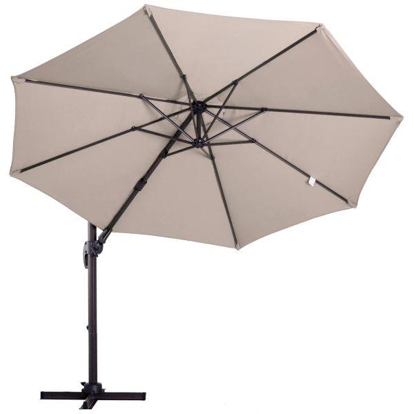 Outsunny Beach Hanging Umbrella Parasol - Khaki