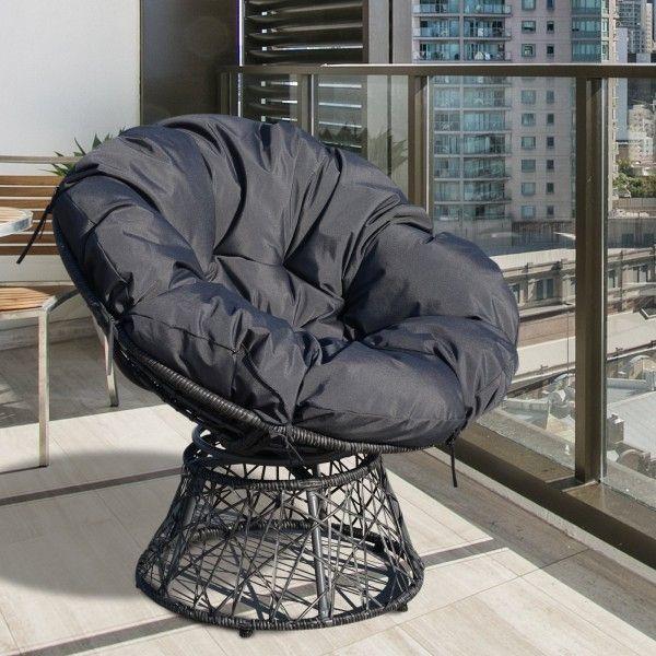 Outsunny 360° Swivel Black Rattan Moon Chair