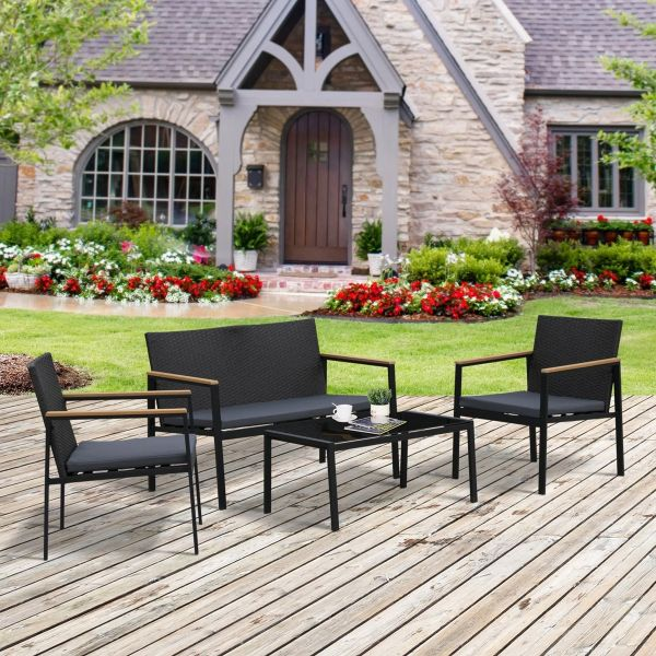 Outsunny 4-Seater Outdoor PE Rattan Table and Chairs Set - Black