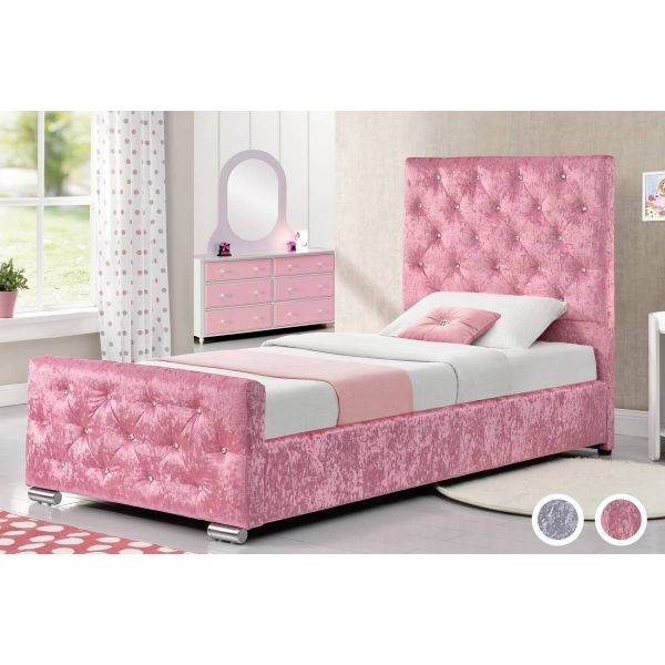 Beaumont Crushed Velvet Single Bed - Pink or Silver
