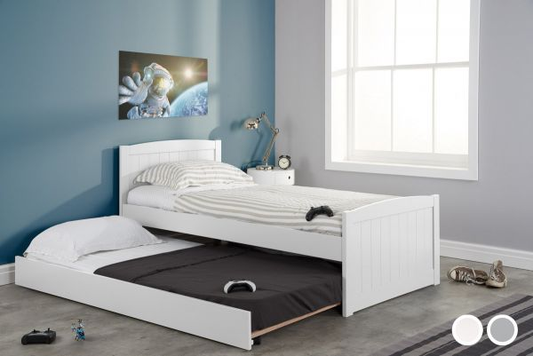 Birlea Beckton Rubberwood Bed & Trundle - White or Grey