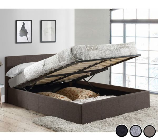 Birlea Berlin Fabric or Crushed Velvet Ottoman Bed