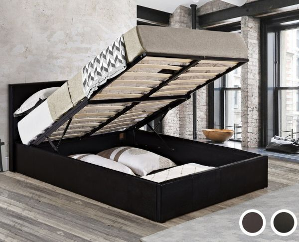 Birlea Berlin Black or Brown Faux Leather Ottoman Storage Bed