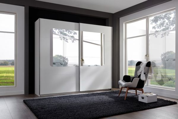 Bergen 225cm 2-Door Mirrored Sliding Wardrobe - White