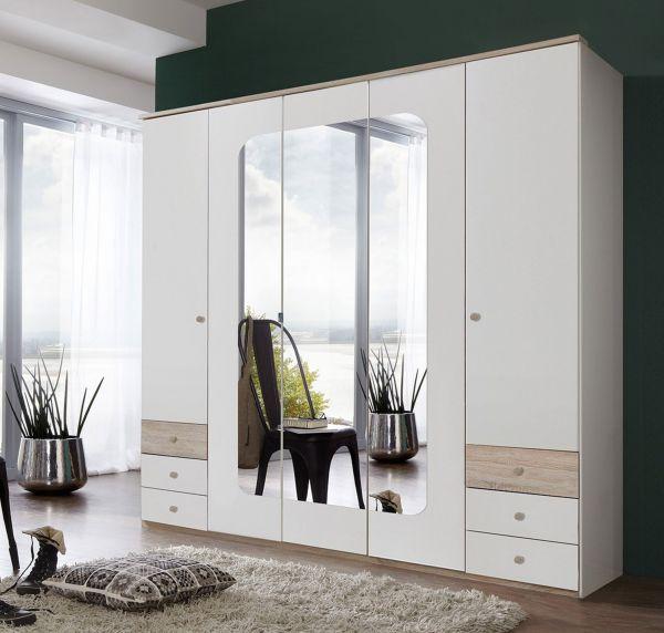 Bergen 5-Door 6-Drawer Mirrored Wardrobe - White & Oak