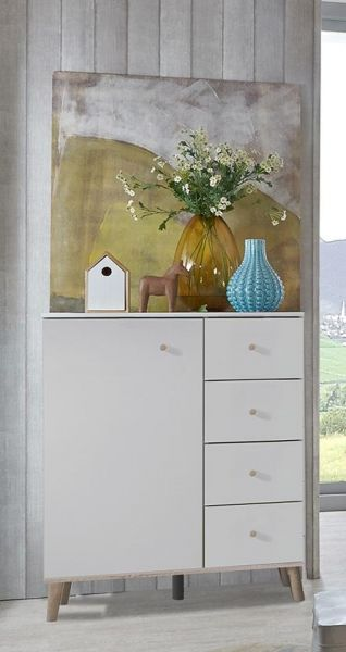 Bergen 1-Door 4-Drawer Combi Storage Chest - White & Oak