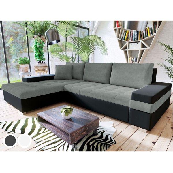 Bessie Fabric Corner Sofa Bed - Black/Grey