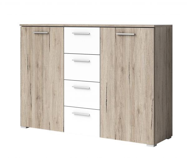 Baldo-I Sideboard Cabinet with Shelving & Drawers - San Remo Oak & White