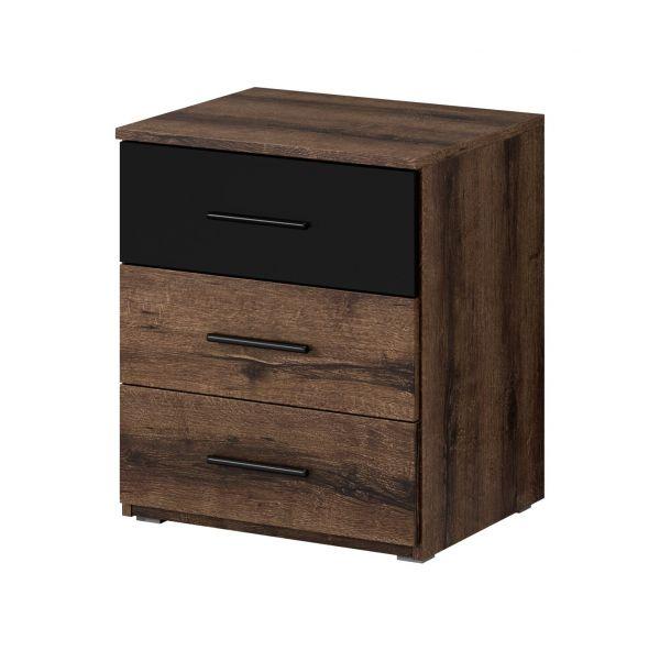 Baldo-V Bedside Cabinet with 3 drawers - Oak