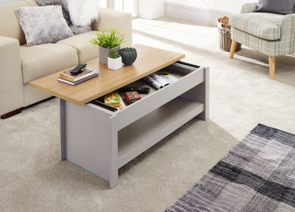 Lancaster Sliding Top Oak Coffee Table - Grey or White