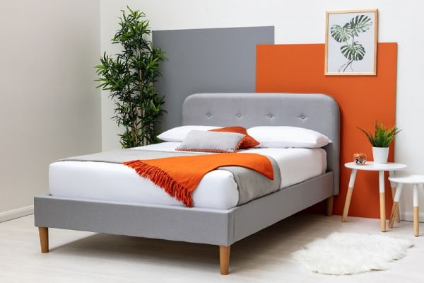 Bisham Contemporary Grey Fabric Upholstered Bed Frame - 3 Sizes