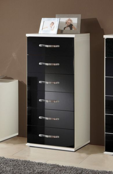 Trio 6-Drawer Narrow Gloss Storage Chest - White & Black