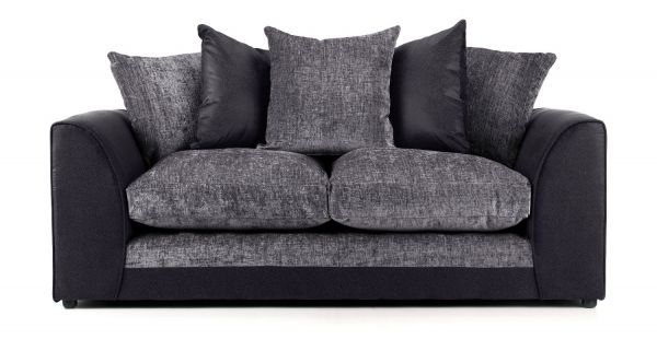 Aruba Black and Grey Fabric 3 Seater Sofa