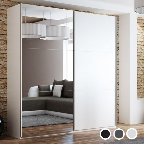 Boris Mirrored Sliding Door Wardrobe - Black, White, Grey