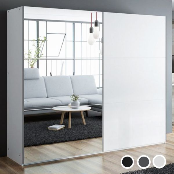 Boris 250cm Sliding Door Wardrobe - Black, White, Grey
