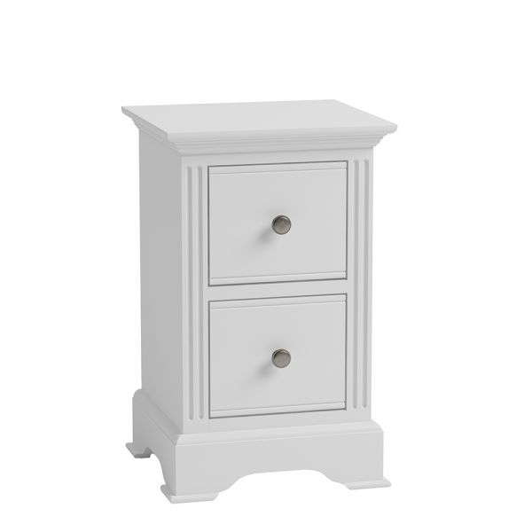 Modern 2 Drawers Small Bedside Cabinet - White