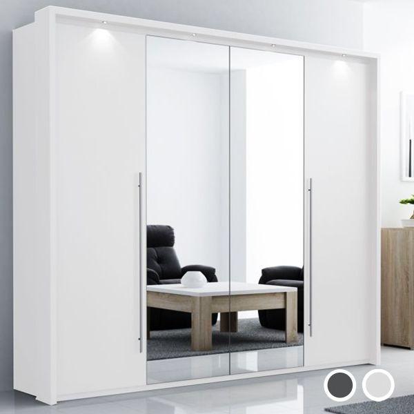 Brema Mirrored Wardrobe - White and Grey