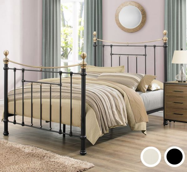 Birlea Bronte Victorian Black or Cream Metal Bed Frame