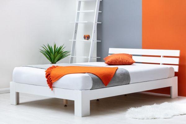 Broxton Low Platform White Wooden Bed Frame - 2 Sizes