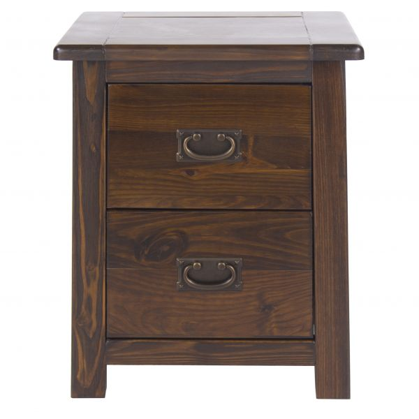 Boston Antique Pine 2-Drawer Bedside Cabinet