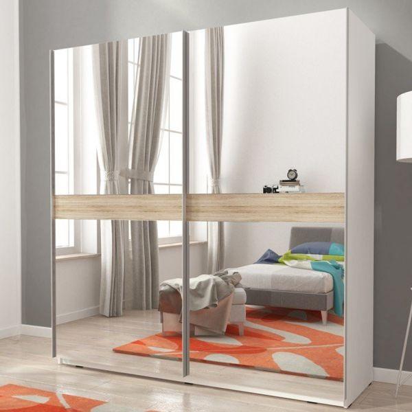 Merlin-V Fully Mirrored 2-Door Sliding Wardrobe - Matt White
