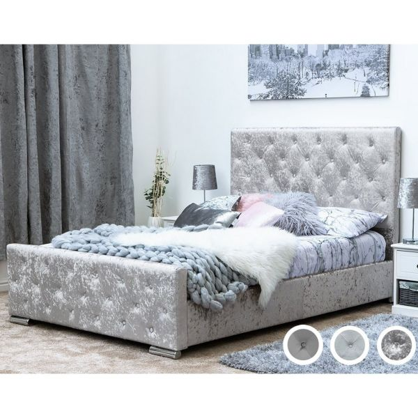 Buckingham Double Bed - Grey Velvet, Grey Chenille or Silver Crushed