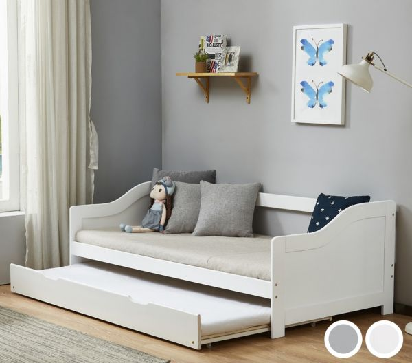 Birlea Brixton Trundle Day Bed - White or Grey