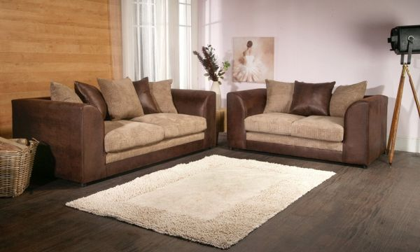 Benson Brown and Beige 3 and 2 Sofa Set