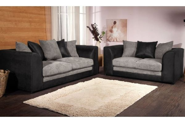 Benson Black and Grey 3 and 2 Sofa Set