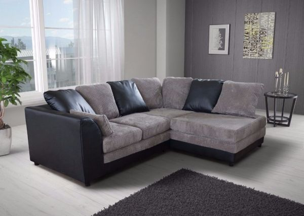 Benson Black and Grey Corner Sofa