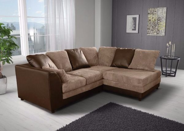 Benson Brown and Beige Corner Sofa Suite
