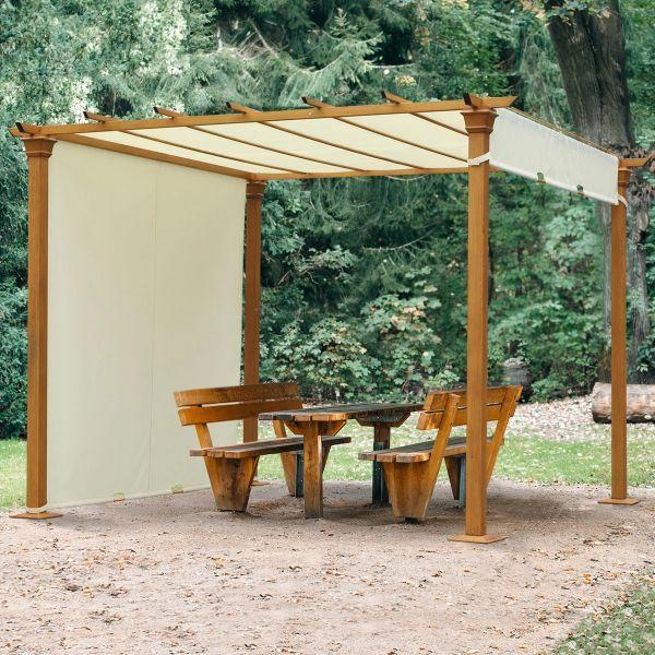 Outsunny Steel Frame Retractable Outdoor Garden Pergola - Beige