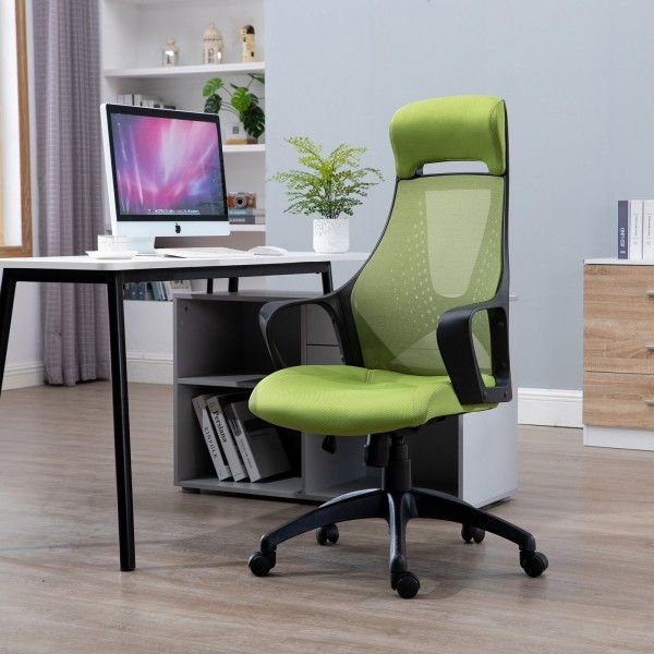Vinsetto High Back Linen Swivel Office Chair - Green or Grey
