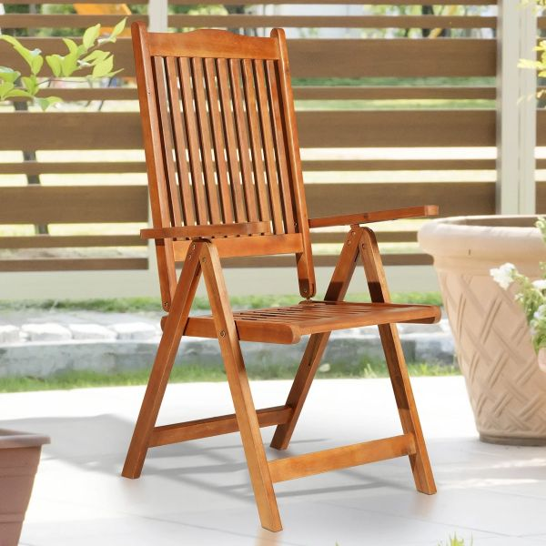 Outsunny 5-Position Acacia Wood Chair